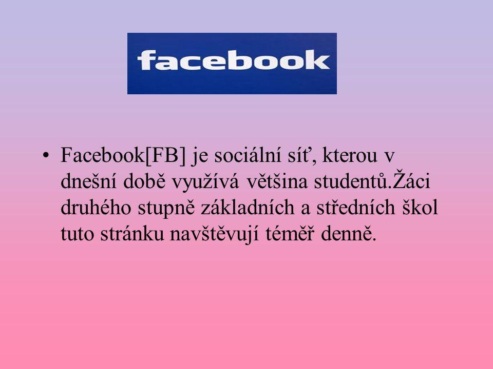 Facebook[FB] je sociální síť, kterou v dnešní době využívá většina studentů.Žáci druhého stupně základních a středních škol tuto stránku navštěvují téměř denně.
